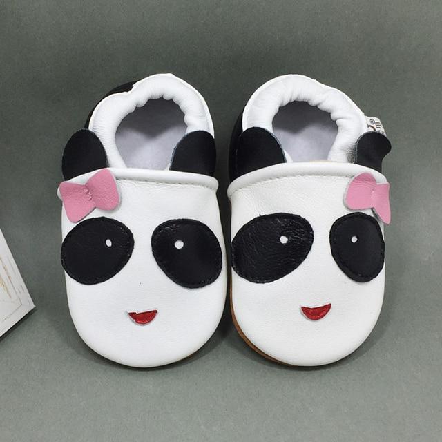 Натуральная Кожа Оптом Прекрасный Животных Panda Дизайн Низкой Мягкой Подошве Низкий Топ Slip on Anti-slip Дышащие Младенцы Впервые уокер