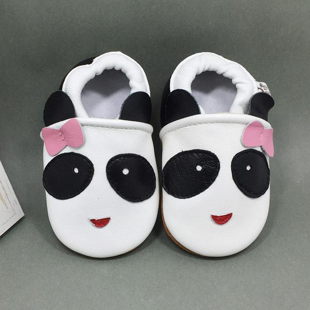 Diseño Animal Encantador de la Panda Al Por Mayor de Cuero genuino Bajo Suela Blanda Bajo Top resbalón antideslizante Transpirable Niños Primero Walker