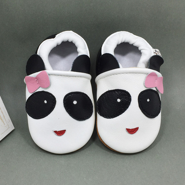 Genuine Leather Wholesale Lovely Animal Panda Design Low Soft Soled Low Top Slip on Anti-slip Breathable Infants First Walker
