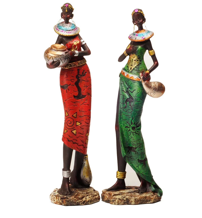 Buy Doll Furnishing Articles Resin Crafts Home Decoration: 8*7*30cm Big Size Creative African Lady Figurine Handmade
