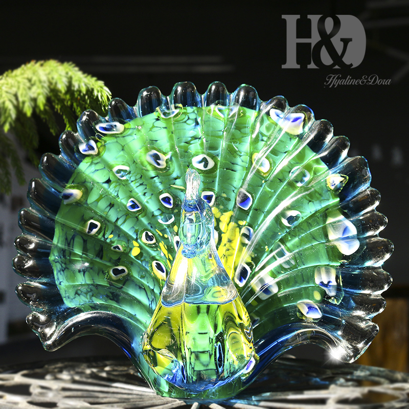 H D Hand Blown Glass Peacock Figurine Collection Cut Glass Decorative Statue Animal Collection For Home