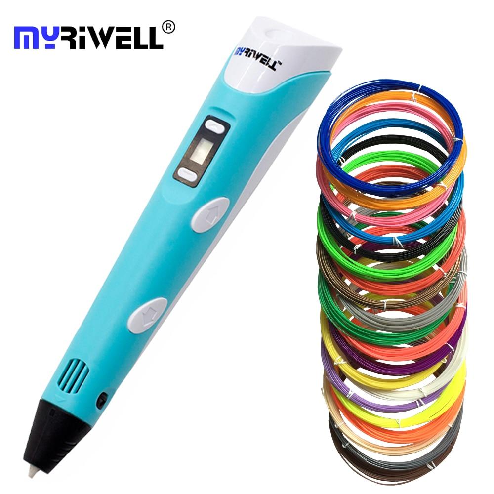 Myriwell Original RP-100B 3D impresión pluma 1,75mm ABS Smart 3d dibujo bolígrafos con filamento LED para los niños regalos
