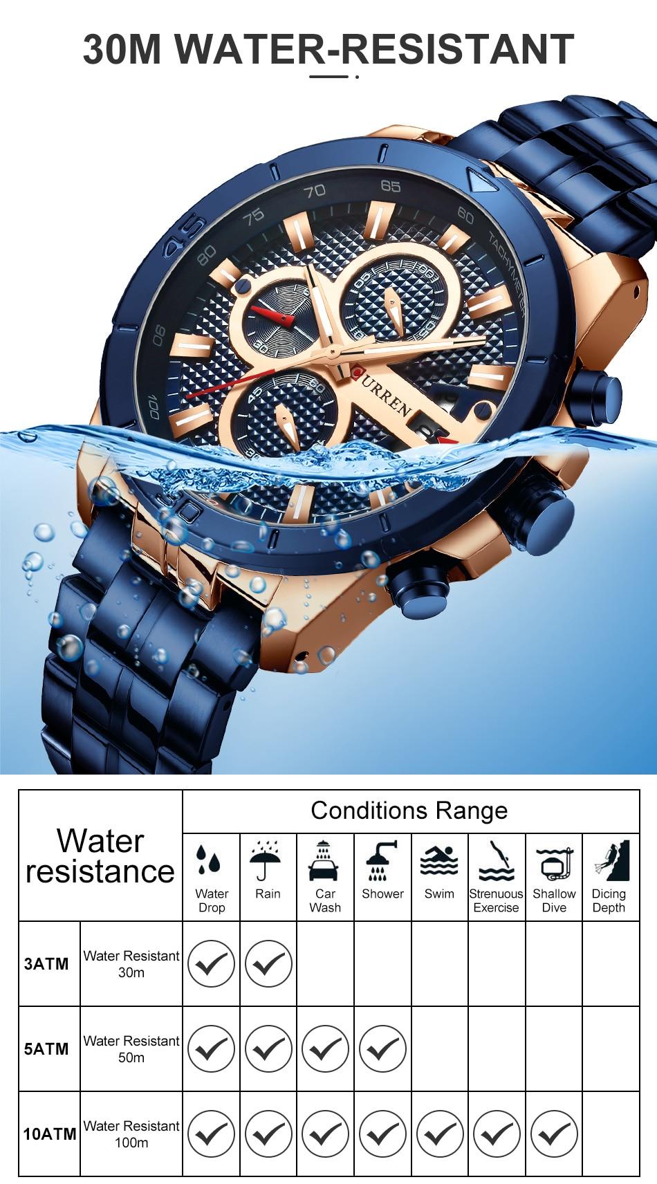 CURREN Business Men Watch Luxury Brand Stainless Steel Wrist Watch Chronograph Army Military Quartz Watches Relogio Masculino