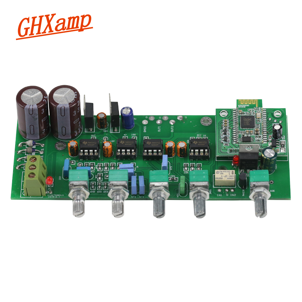 GHXAMP HIFI Tone Preamplifier Subwoofer Bluetooth Treble Bass Adjustment 4.0 Audio Preamp NE5532 op-amp output Board электробритва агидель 3 c