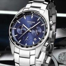 42 ММ SANGDO многофункциональный Японский кварцевый Синий циферблат мужские часы Высокого качества 2016 новая мода Кварцевые часы оптом