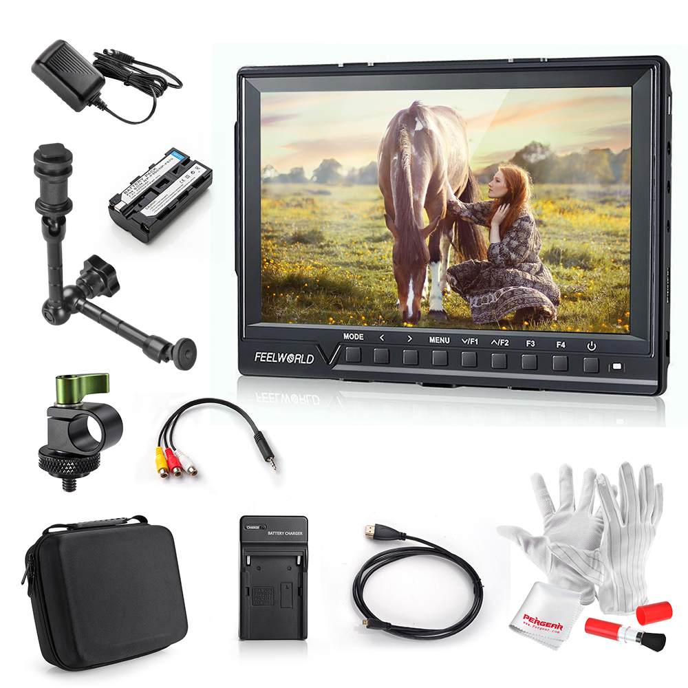 Express Feelworld FW760 7 Inch IPS Full HD 1920x1200 1200:1 Contrast On Camera Field Monitor with 2200mAh Battery+Magic Arm Kit