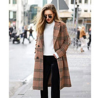 Women Coats Women'S Wool Hot Coat Autumn And Winter New Products Large Size Women'S Clothing Lapel Plaid Cardigan Coat Fashion