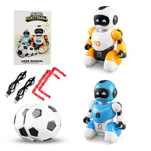 Smart Play Soccer Robot USB Charging Remote Control Battle Robot Toy Singing Dancing Simulation RC Intelligent Football Toys rc smart robot english toy r 1 infrared slide walk shoot missile dancing intelligent remote control battle droid toy for kids