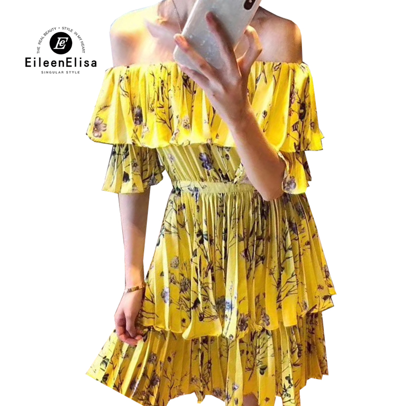 Yellow Slash Neck Dresses Elegant Summer Dress 2018 Woman Ruffles Pint Dresses Femme High Quality Vestidos