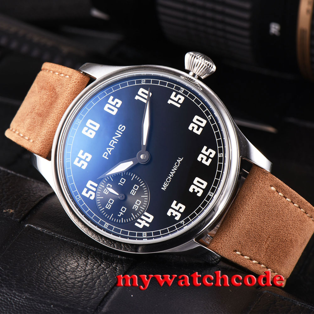 44mm parnis black dial luminous marks leather 6497 hand winding mens watch P808 44mm black sterile dial green marks relojes 6497 mens mechanical hand winding watch luminous armbanduhr cm164bk