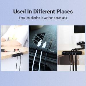 Image 3 - TOPK כבל ארגונית סיליקון USB כבל המותח שולחן עבודה מסודר ניהול קליפים כבל מחזיק עבור עכבר אוזניות חוט ארגונית