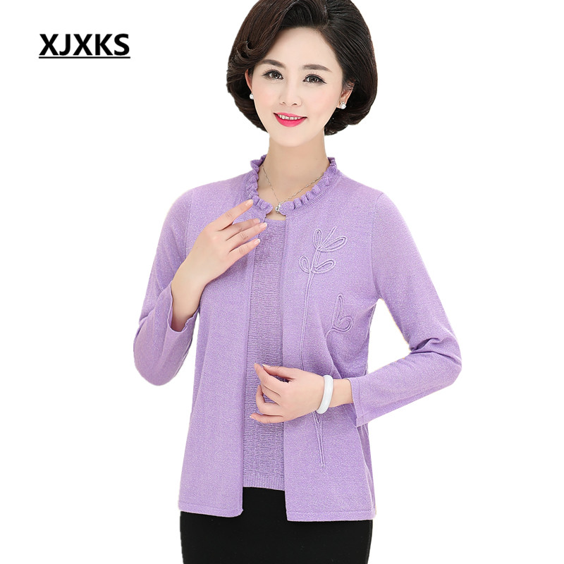 XJXKS New 2019 spring fashion nine point sleeve women tops loose plus size comfortable casual fake