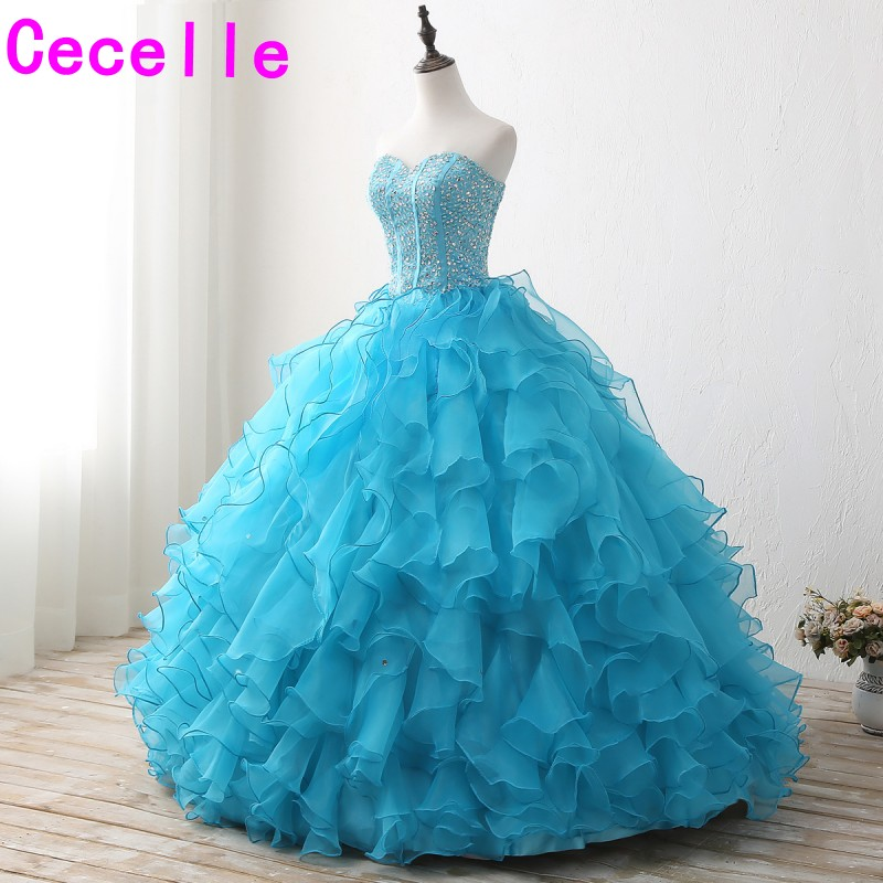 7a924813664 2019 Blue Ball Gown Long Prom Dresses Sweetheart Beaded Crystals Ruffles Organza  Corset Teens Princess Prom Gowns Custom Made