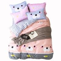 クマ魚プリントかわいい漫画寝具セットツインフル女王ダブルサイズ100%綿のベッドリネン布団/キルトカバーベッドシート