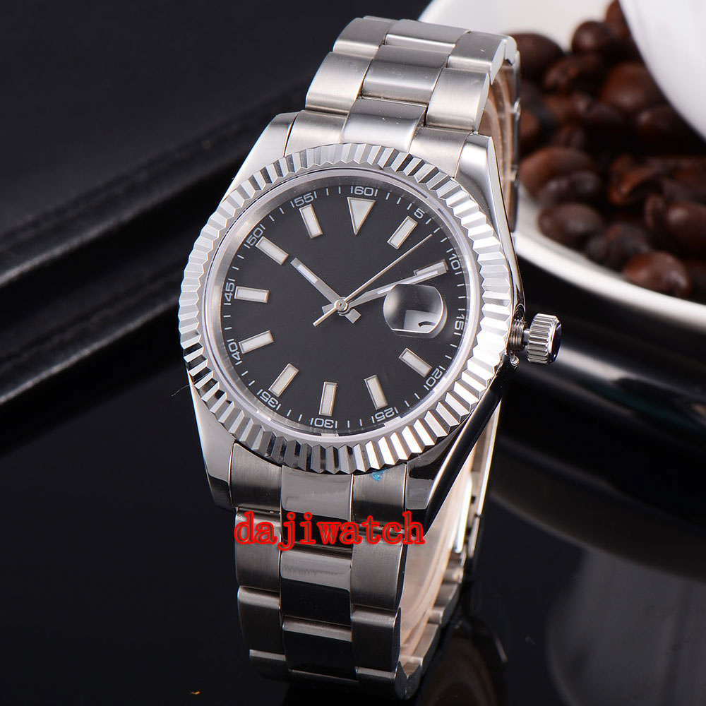 parnis 40mm black dial stainless steel case Sapphire glass calendar mechanical automatic watch men