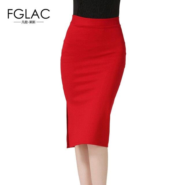 15b5cbde781d FGLAC New Arrivals 2017 Spring Women skirt Fashion Formal pencil skirts  Sexy Open Slit Slim stretch