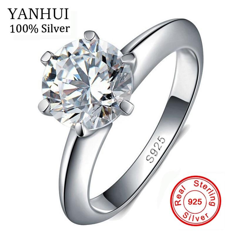 GRAND 95% OFF!!! 100% D'origine Solide 925 Argent Anneaux Naturel 1.5ct Solitaire Zircon Bijoux De Mariage Anneaux Pour Les Femmes J121