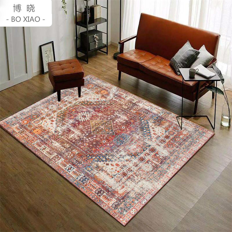 Simple European Ethnic Style Rural Retro Rugs Living Room Full Of Sofa And Tea Table Study  Bedside Anti-skid Carpet Washable