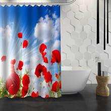 hot sale custom red poppies flowers custom shower curtain waterproof fabric bath curtain for bathroom f