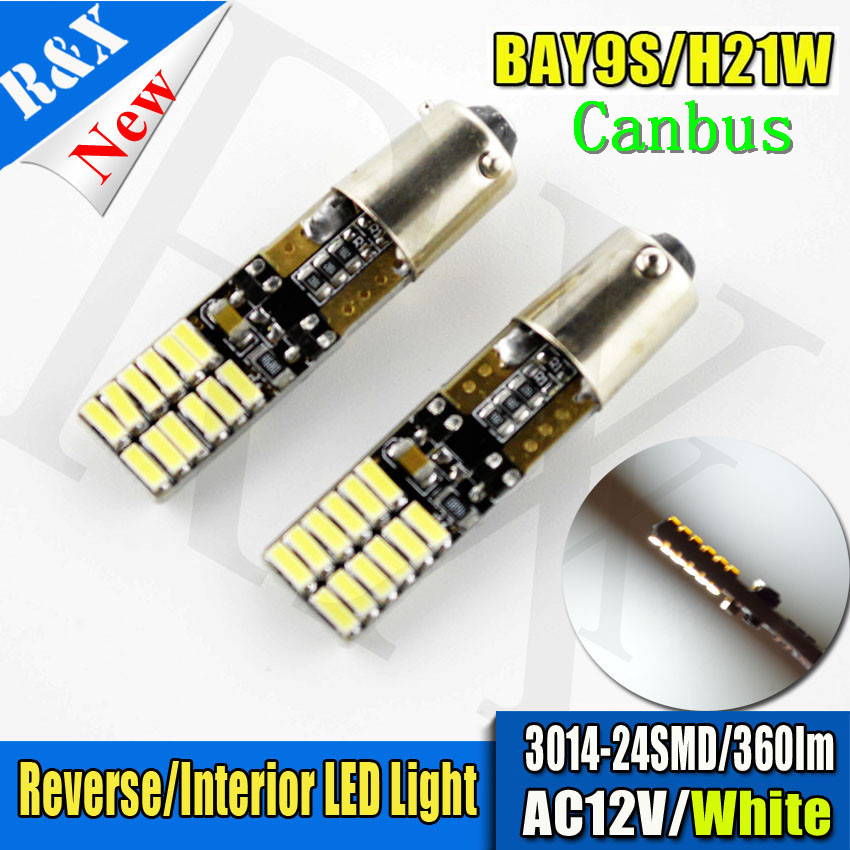 2/4/10/50 pcs/lot Auto Canbus BAY9S H21W 3014 24 SMD White AC12V Car side wedge door clearance Marker Rear Reverse lamp bulb LED 4pcs car w5w t10 led light 48 3014 smd side marker lamps warm white clearance lights bulb dc 12v