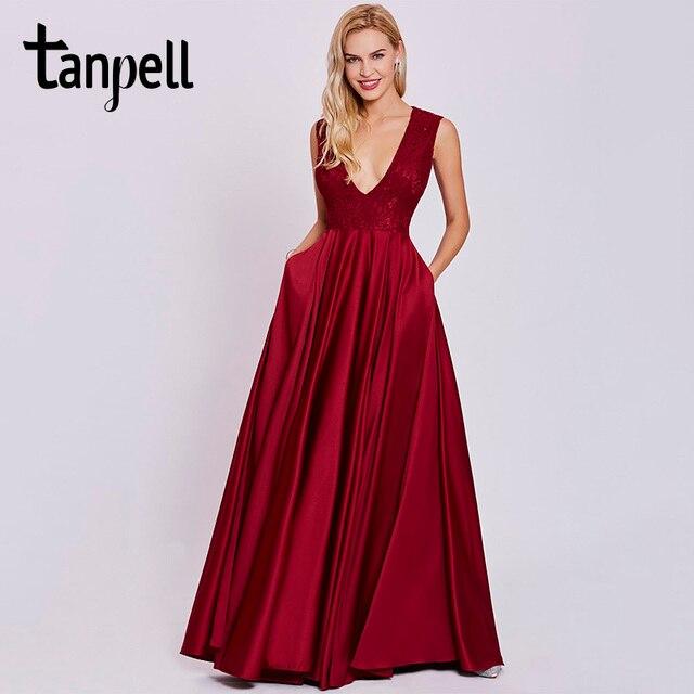 57110cee0a66 Tanpell sexy v neck abito da sera senza maniche pavimento-lunghezza rosso  ruggine un abito