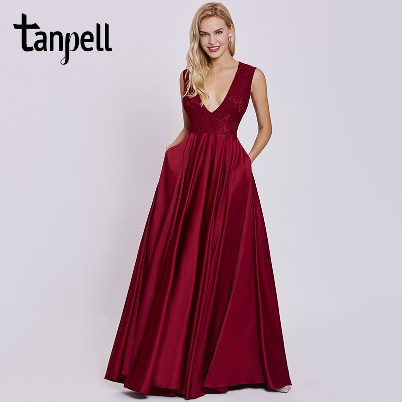 Tanpell sexy v neck evening dress rust red sleeveless floor length a line  gown cheap women prom lace long formal evening dresses e2bd32e1203f