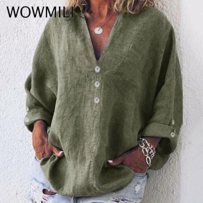 Fashion Clothing 5 Color V Neck Women   Shirts   5XL Plus Size Cotton and linen Button Solid Color Women   Blouses     Shirt