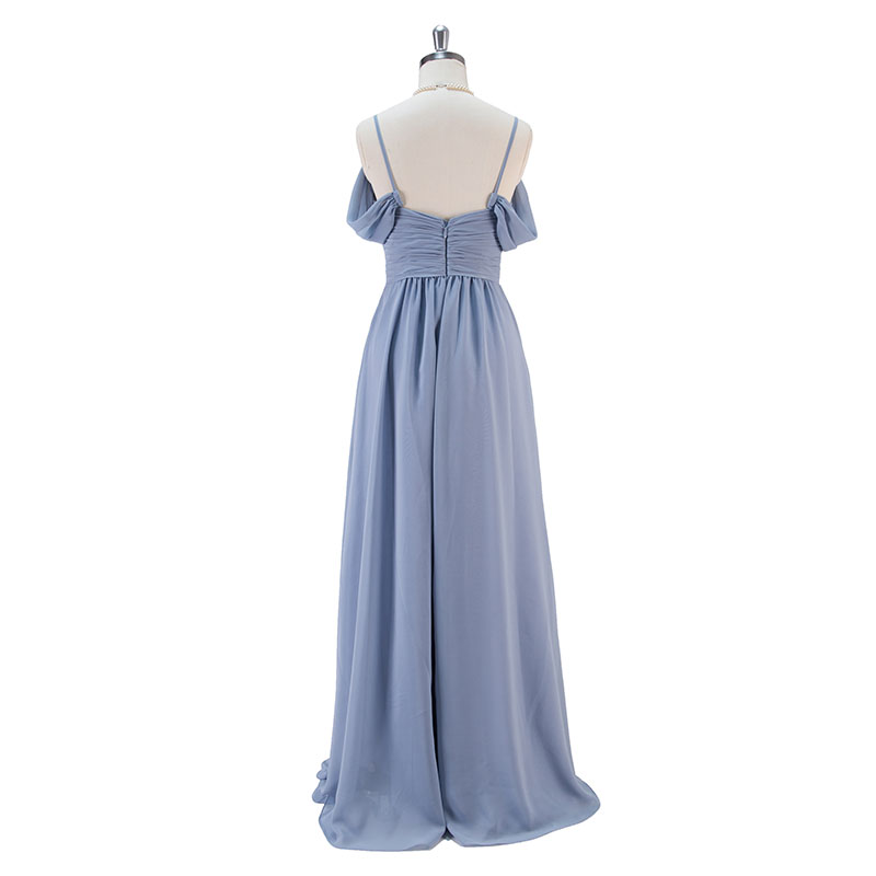 Steel Blue Long Chiffon Bridesmaid Dresses Wedding Party Dress 2