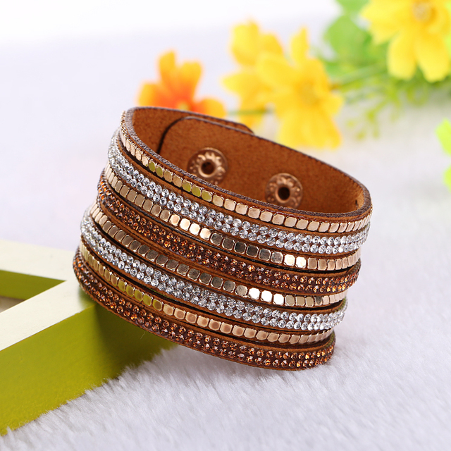 2017 Fashion Jewelry Bling Bracelets&bangles For Women Multilayer Rhinestone Lea