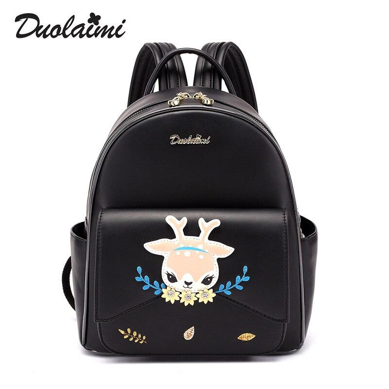 Duolaimi Hot Brand Lovely Cat Leather Backpacks Women Shoulder Bags School Teenage Girls Travel Laptop Bagpack Mochila Women Bag duolaimi 2017 new korean backpacks
