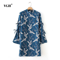 VGH Europ Style Vintage Bird Print Dress Sashes Pleated Turn Down Collar Long Sleeve Casual Loose