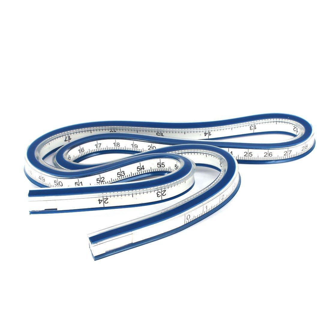 BLEL Hot Carpenter Schneider Soft Plastic 60 Cm 24 Zoll Flexible Curve Ruler Blue + White