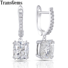 Transgems Platinum Plated Silver Center 6X7mm H Color Cushion Cut Moissanite Drop Earrings for Women Wedding Gift