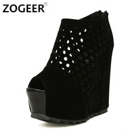 Summer Wedges Boots Women Fashion Flock Women's High heel Platform Ankle Boots Sexy Cut out Black Height Increasing Shoes Woman