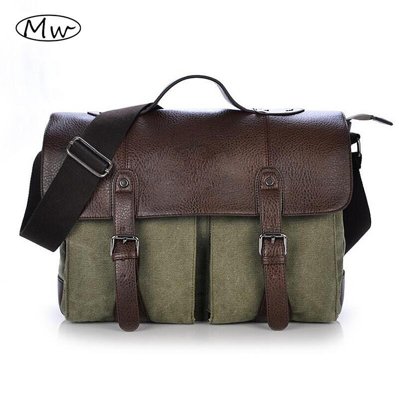 2018 Retro Men Briefcase Business Shoulder Bag Canvas Messenger Bags Man Handbag Tote Bag Casual Travel Bag Sac Hommes man s casual canvas shoulder bag messenger bag coffee white