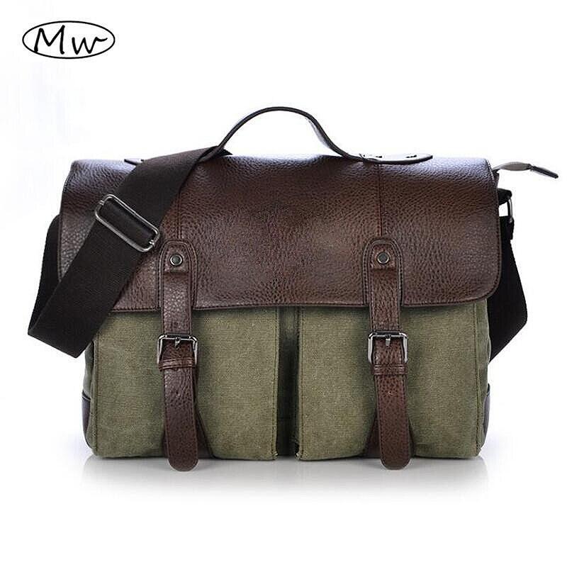 2019 Retro hombres maletín bolso de negocios Cartera de lona 93612029b0a9