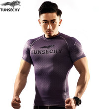 TUNSECHY Original brand 2017 new marvel compression shirt fitness tights crossfit quick dry short sleeve t shirt Summer Men tee