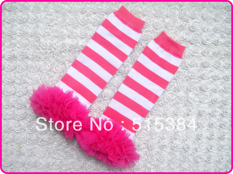 12 pairs/lot free shipping christmas candy cane leggins leg warmers hot pink white with ruffles fits NB to 6yrswarm fuzzy socks