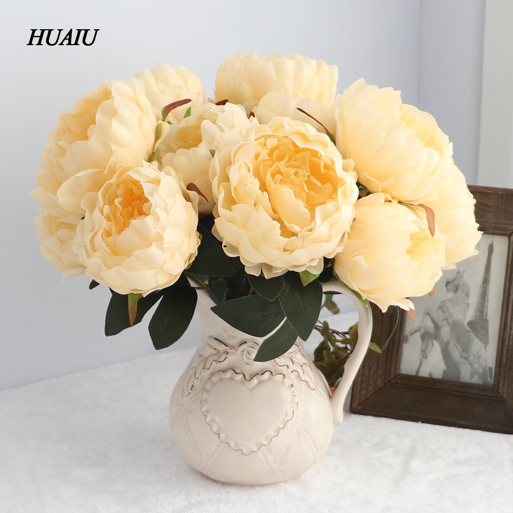 5 Heads/ Bouquet Artificial Peony Flower Silk flower Heads Fake Leaf For Home and Wedding Party Decoration