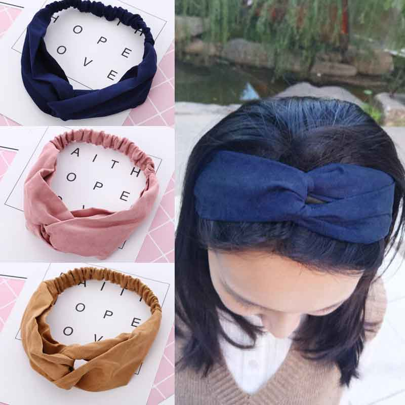 1 pcs Women Spring Autumn Suede Headband Vintage Cross Knot Elastic Hair Bands Girls Hairband   Headwear   2019 Hair Accessories