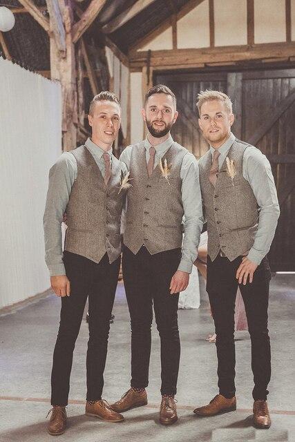 Country Wedding Gray Wool Herringbone Tweed Vests Custom Made Groom Vest  Slim Fit Mens Suit Vest a5a69933559d