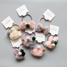 Quality Girl Fluffy Crown Hair Tie Bow Faux Fur Hair Band Girl Crown Hair Accessories Elastics Scrunchie Ponytail Holder HT012 cheap Headwear Nylon Acrylic Solid Women HT011 Fashion Children Headbands