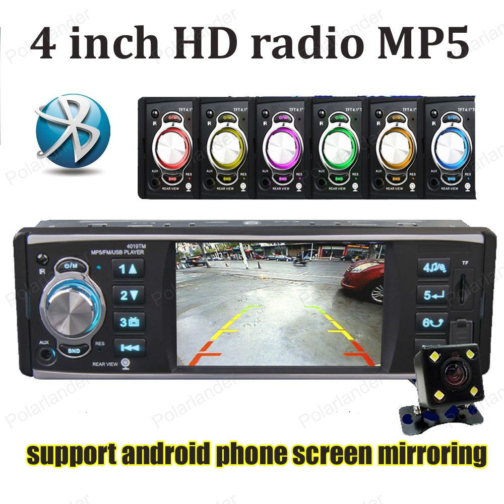 4 inch HD car radio stereo Bluetooth USB / SD /FM 1 din MP5 player with rear camera android phone screen mirroring android 5 1 car radio double din stereo quad core gps navi wifi bluetooth rds sd usb subwoofer obd2 3g 4g apple play mirror link