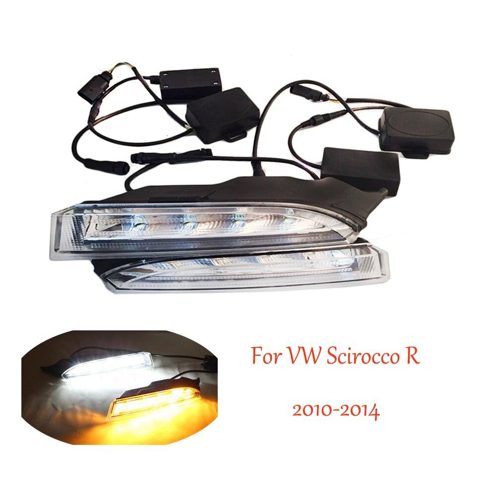 Day Light White LED Daytime Running Lights DRL Yellow Turn Signal Light For Volkswagen VW Scirocco R 2010 2011 2012 2013 2014