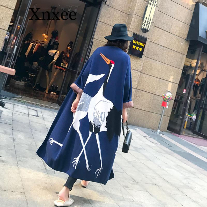 Xnxee 2019 Autumn Casual Cashmere   Trench   Coat Women Cartoon Cranes Pattern Open Stitch Knitting Long Outwear Oversize