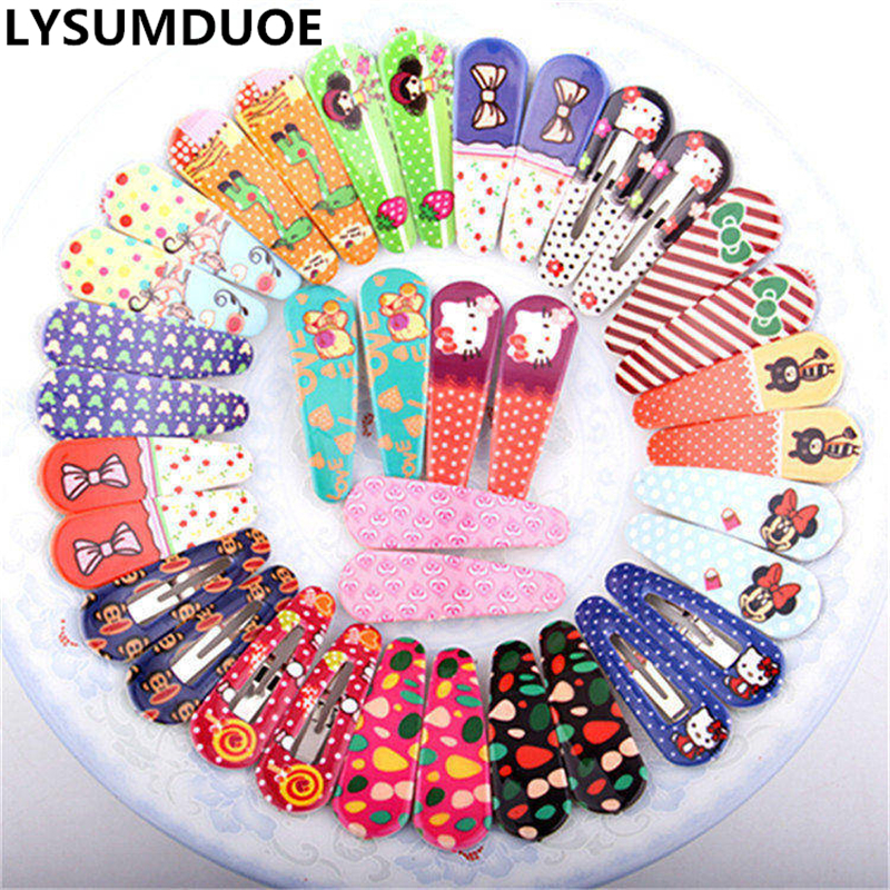 Cute Polka Dot Bow Animal Fabric Flowers Kit Slides Barrette Random Style BB Toddler Baby Headband Hair Clips for Girl 6Pcs/Lot