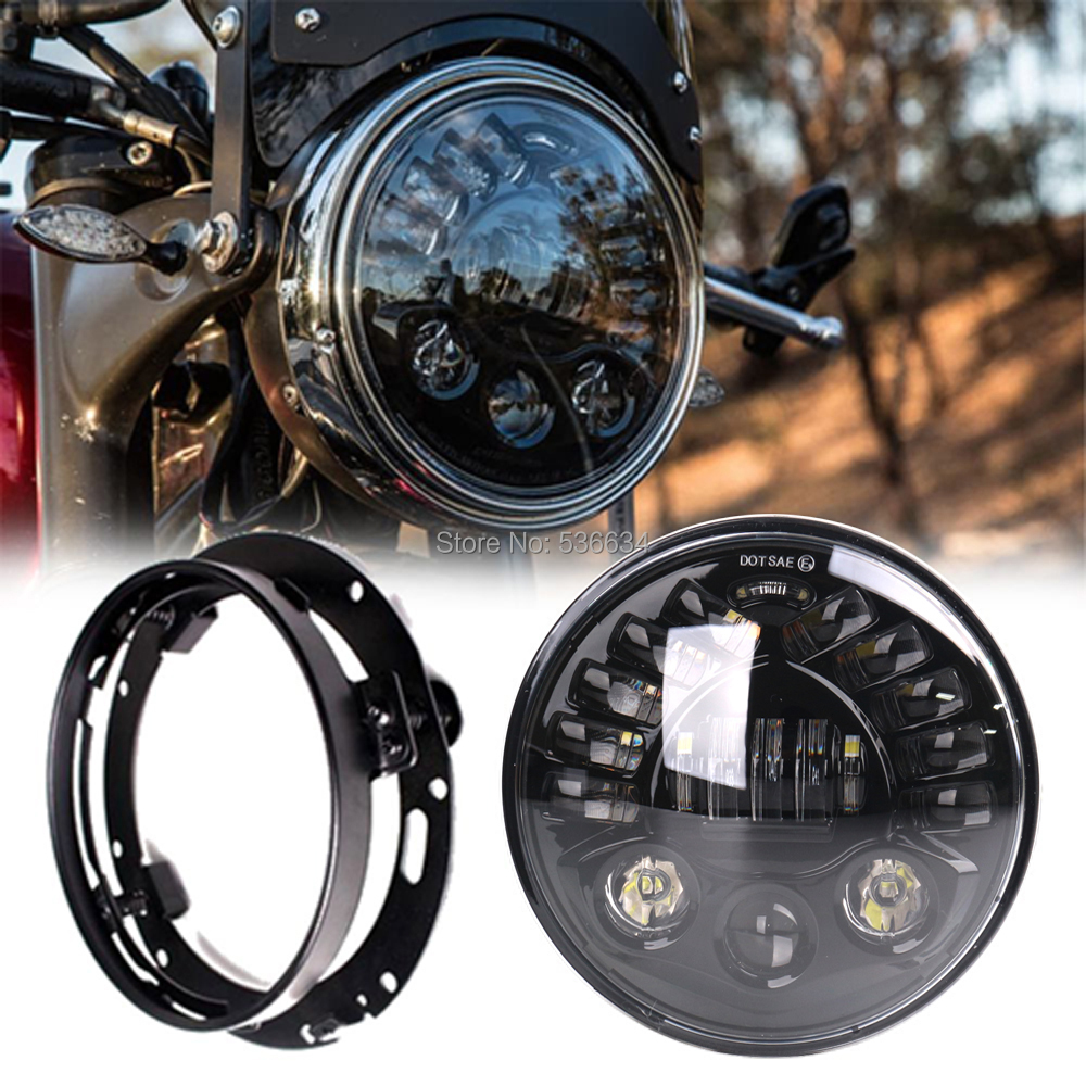 7Inch LED Round Projector Daymaker Headlight Hi/Low DRL Turn Light + 7 Headlight Mounting Bracket Ring For Road King Classic