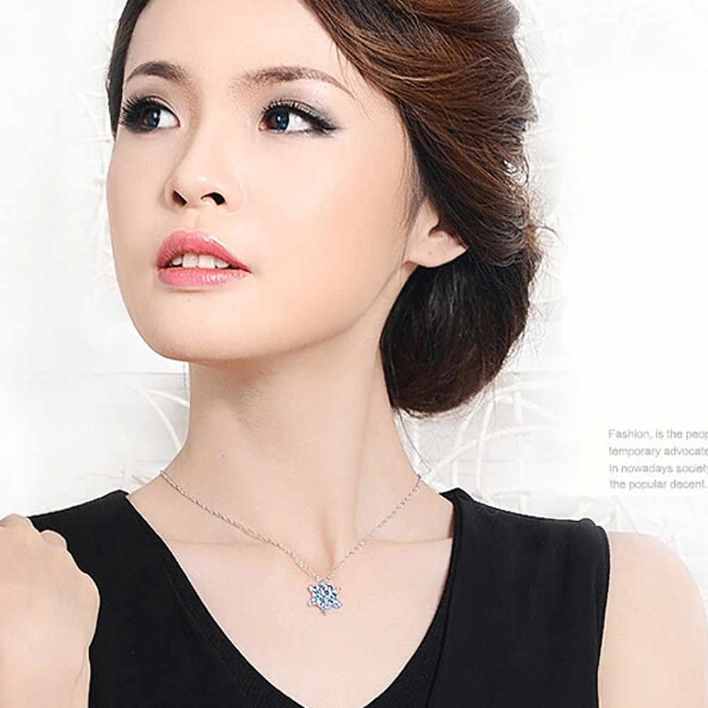 Stylish Wild Necklace Luxury Long Pendant Necklace PopularChic Snowflake Pendant Rhinestone Crystal High Quality SL 1pcs   L0326