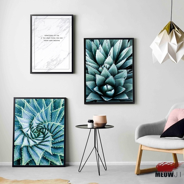 Posters Wall Art Printed Canvas Painting For Living Room Nordic Decoration  Fresh Succulent Plants Wall Decor