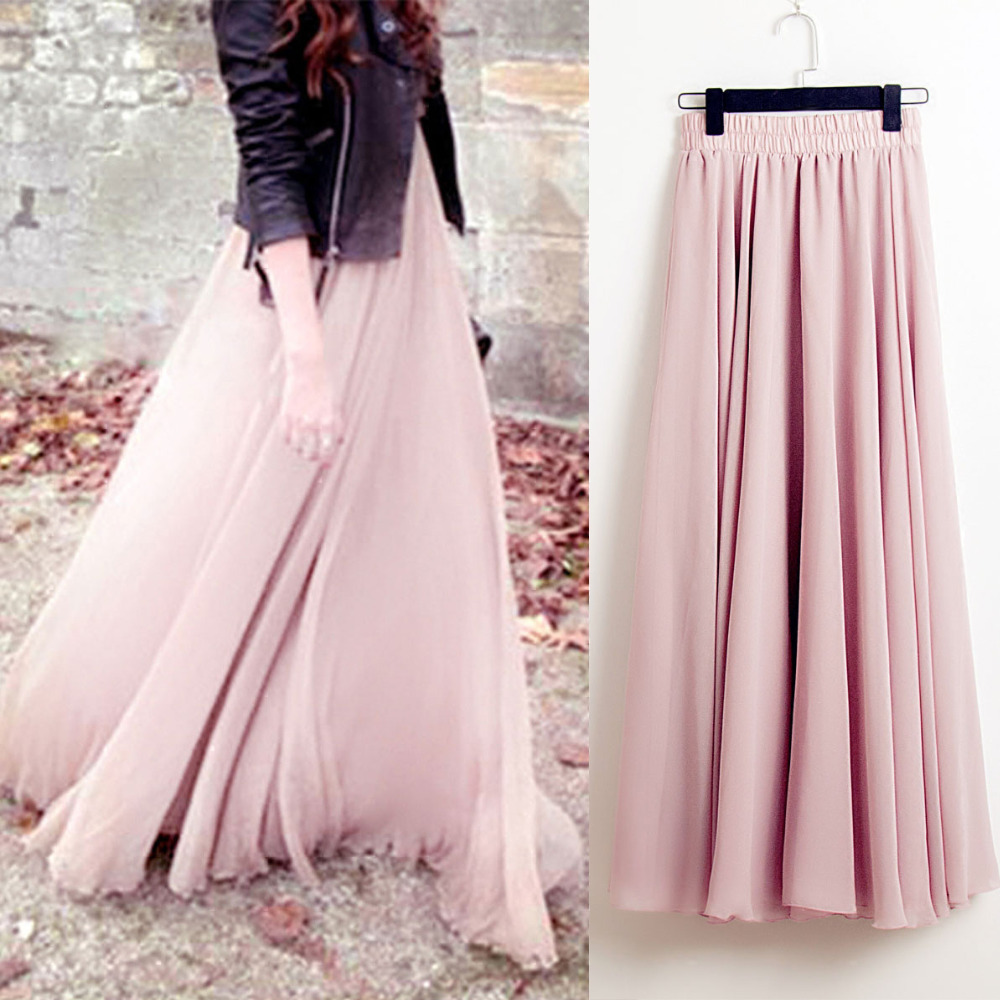 Maxi Skirt Stretch Pleated Chiffon Bohemia High-Waist Women Casual Solid Faldas Saias